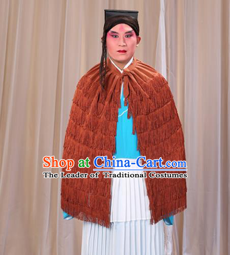 Traditional China Beijing Opera Master Keung Costume Brown Straw Rain Cape, Ancient Chinese Peking Opera Wu-Sheng Coir Raincoat Clothing
