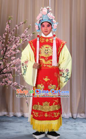 Top Grade Professional Beijing Opera Niche Costume Prince Blue Embroidered Robe and Headwear, Traditional Ancient Chinese Peking Opera King Clothing