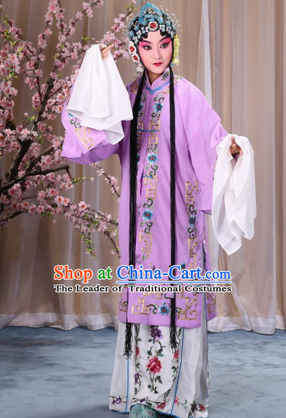 Top Grade Professional Beijing Opera Diva Costume Palace Lady Lilac Embroidered Cape, Traditional Ancient Chinese Peking Opera Princess Embroidery Dress Clothing