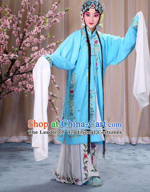 Top Grade Professional Beijing Opera Diva Costume Palace Lady Light Blue Embroidered Cape, Traditional Ancient Chinese Peking Opera Princess Embroidery Dress Clothing