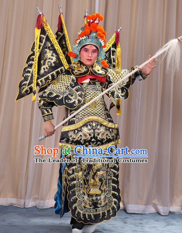Traditional China Beijing Opera Takefu General Black Costume and Headwear Complete Set, Ancient Chinese Peking Opera Wu-Sheng Military Officer Clothing