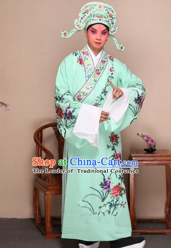 Top Grade Professional Beijing Opera Niche Costume Gifted Scholar Green Embroidered Robe and Shoes, Traditional Ancient Chinese Peking Opera Embroidery Peony Clothing