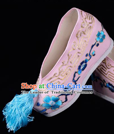 Top Grade Professional Beijing Opera Hua Tan Embroidered Plum BlossomHidden Elevator Pink Satin Shoes, Traditional Ancient Chinese Peking Opera Diva Princess Blood Stained Shoes
