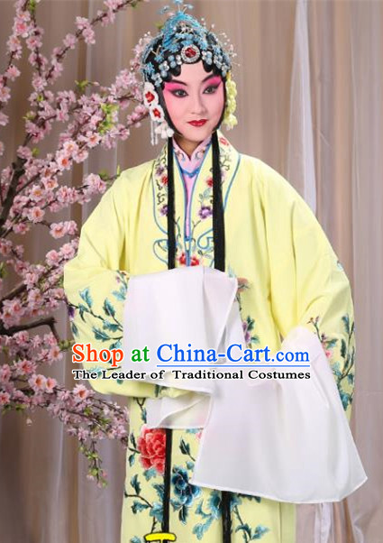 Top Grade Professional Beijing Opera Imperial Consort Costume Hua Tan Yellow Embroidered Cape, Traditional Ancient Chinese Peking Opera Diva Embroidery Peony Clothing
