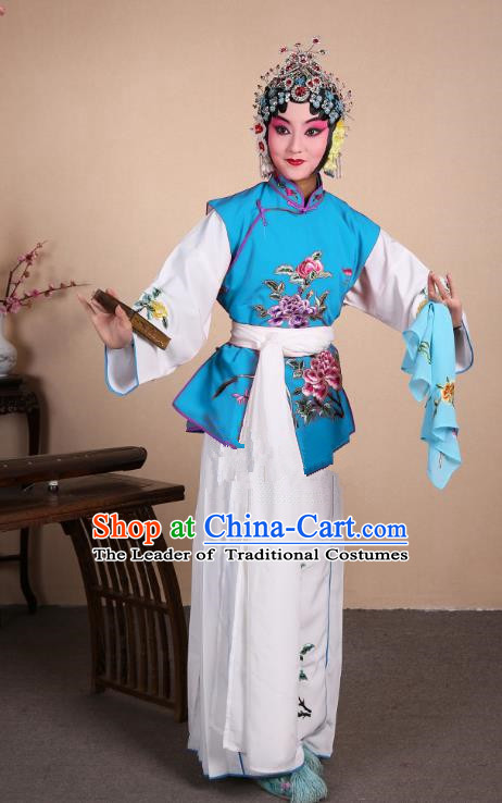 Top Grade Professional Beijing Opera Maidservants Costume Hua Tan Blue Embroidered Waistcoat, Traditional Ancient Chinese Peking Opera Diva Embroidery Dress Clothing