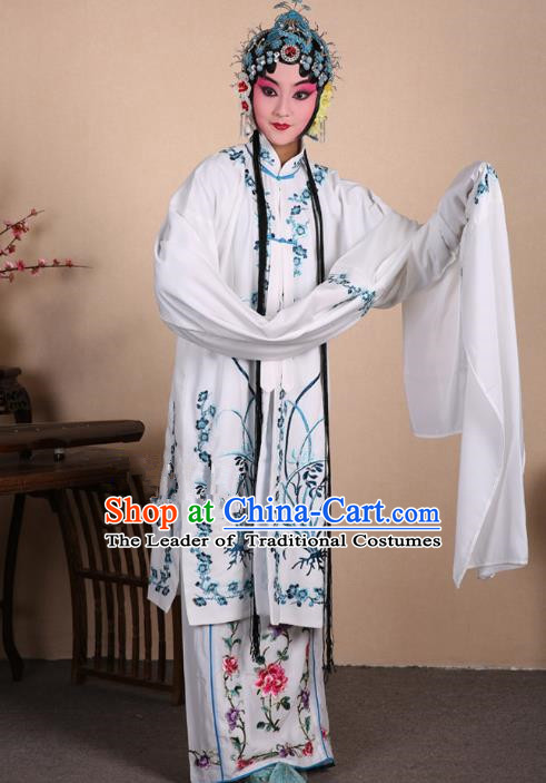 Top Grade Professional Beijing Opera Costume Hua Tan White Embroidered Orchid Cape, Traditional Ancient Chinese Peking Opera Diva Embroidery Dress Clothing