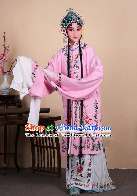 Top Grade Professional Beijing Opera Costume Hua Tan Pink Embroidered Orchid Cape, Traditional Ancient Chinese Peking Opera Diva Embroidery Dress Clothing