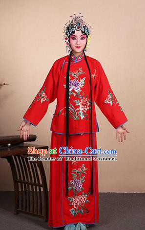 Top Grade Professional Beijing Opera Jordan-Sitting Costume Hua Tan Red Embroidered Dress, Traditional Ancient Chinese Peking Opera Maidservants Embroidery Clothing
