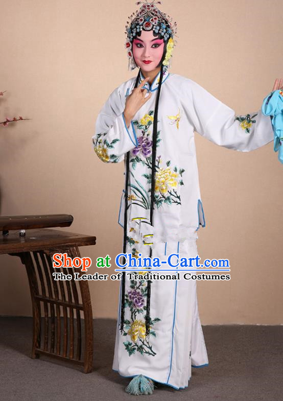 Top Grade Professional Beijing Opera Jordan-Sitting Costume Hua Tan White Embroidered Dress, Traditional Ancient Chinese Peking Opera Maidservants Embroidery Clothing