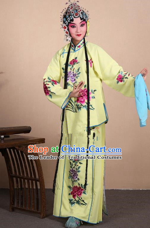 Top Grade Professional Beijing Opera Jordan-Sitting Costume Hua Tan Yellow Embroidered Dress, Traditional Ancient Chinese Peking Opera Maidservants Embroidery Clothing