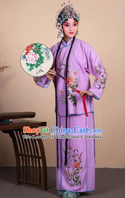 Top Grade Professional Beijing Opera Jordan-Sitting Costume Hua Tan Purple Embroidered Dress, Traditional Ancient Chinese Peking Opera Maidservants Embroidery Clothing