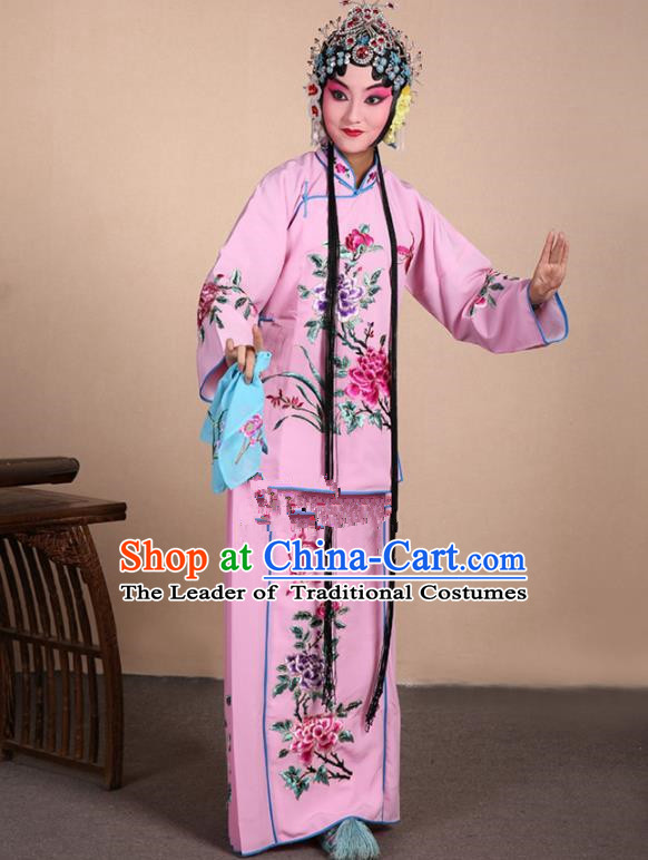 Top Grade Professional Beijing Opera Jordan-Sitting Costume Hua Tan Pink Embroidered Dress, Traditional Ancient Chinese Peking Opera Maidservants Embroidery Clothing