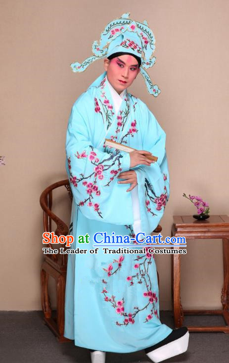 Top Grade Professional Beijing Opera Niche Costume Gifted Scholar Blue Embroidered Wintersweet Robe, Traditional Ancient Chinese Peking Opera Embroidery Clothing