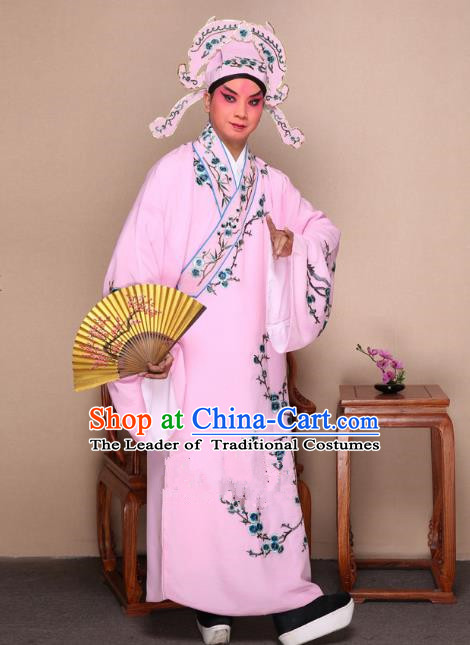 Top Grade Professional Beijing Opera Niche Costume Gifted Scholar Pink Embroidered Wintersweet Robe, Traditional Ancient Chinese Peking Opera Embroidery Clothing