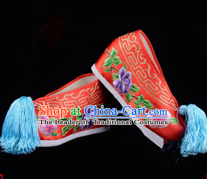 Top Grade Professional Beijing Opera Hua Tan Embroidered Peony Hidden Elevator Red Satin Shoes, Traditional Ancient Chinese Peking Opera Diva Princess Blood Stained Shoes