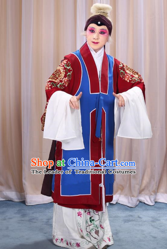 Top Grade Professional Beijing Opera Old Women Costume Long Blue Waistcoat, Traditional Ancient Chinese Peking Opera Pantaloon Landlord Shiva Clothing