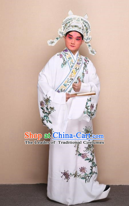 Top Grade Professional Beijing Opera Niche Costume Gifted Scholar White Embroidered Chrysanthemum Robe, Traditional Ancient Chinese Peking Opera Embroidery Clothing