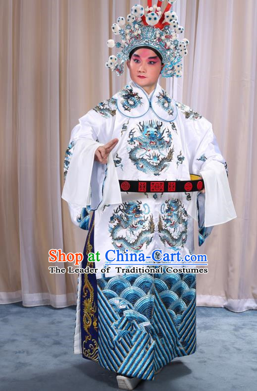 Top Grade Professional Beijing Opera Emperor Costume White Embroidered Robe and Shoes, Traditional Ancient Chinese Peking Opera Royal Highness Gwanbok Clothing
