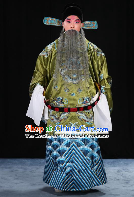 Top Grade Professional Beijing Opera Emperor Costume Green Embroidered Robe and Shoes, Traditional Ancient Chinese Peking Opera Royal Highness Gwanbok Clothing