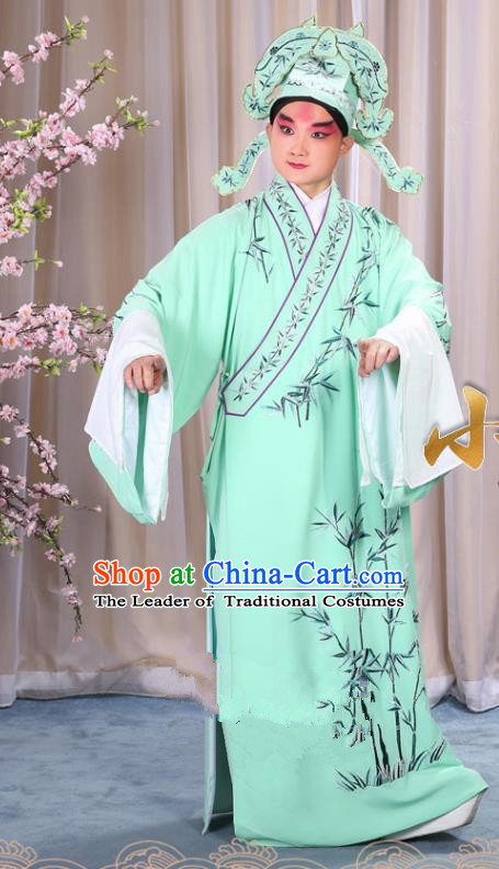China Beijing Opera Niche Costume Gifted Scholar Embroidered Bamboo Green Robe and Headwear, Traditional Ancient Chinese Peking Opera Embroidery Clothing