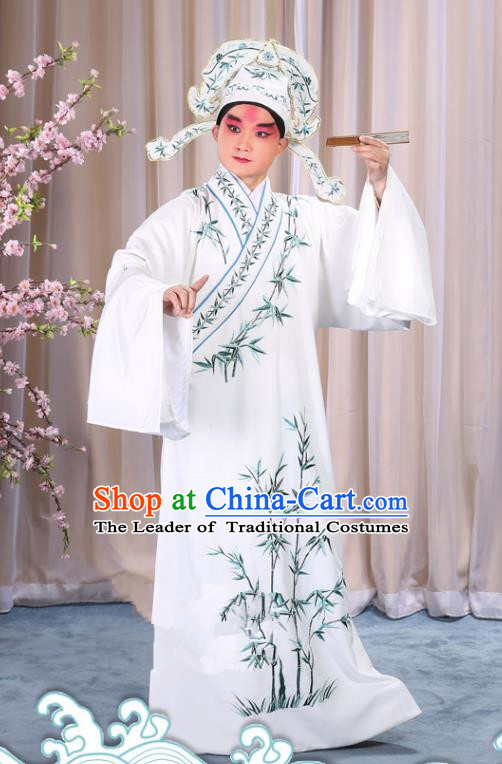 China Beijing Opera Niche Costume Gifted Scholar Embroidered Bamboo White Robe and Headwear, Traditional Ancient Chinese Peking Opera Embroidery Clothing
