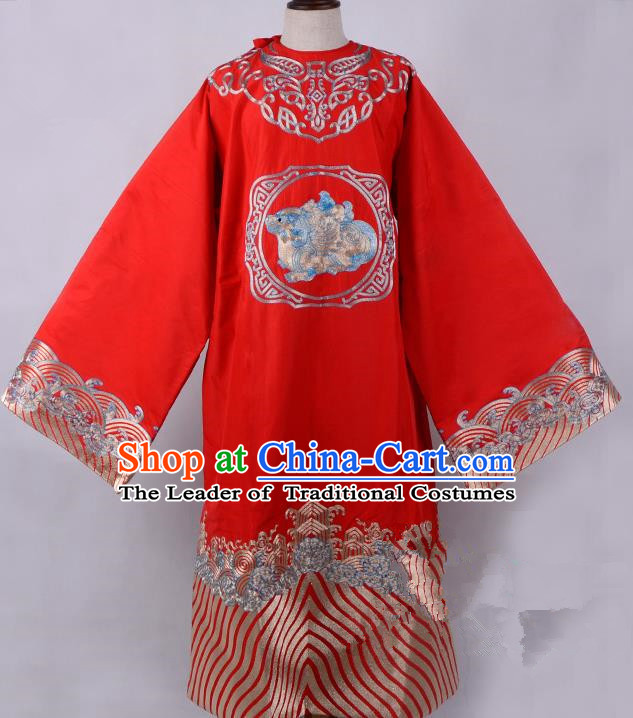 Traditional China Beijing Opera Niche Costume Magistrate Embroidered Red Robe, Ancient Chinese Peking Opera Embroidery Gwanbok Clothing