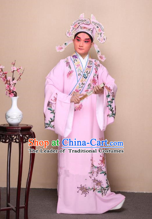 Top Grade Professional Beijing Opera Niche Costume Gifted Scholar Pink Embroidered Chrysanthemum Robe, Traditional Ancient Chinese Peking Opera Embroidery Clothing