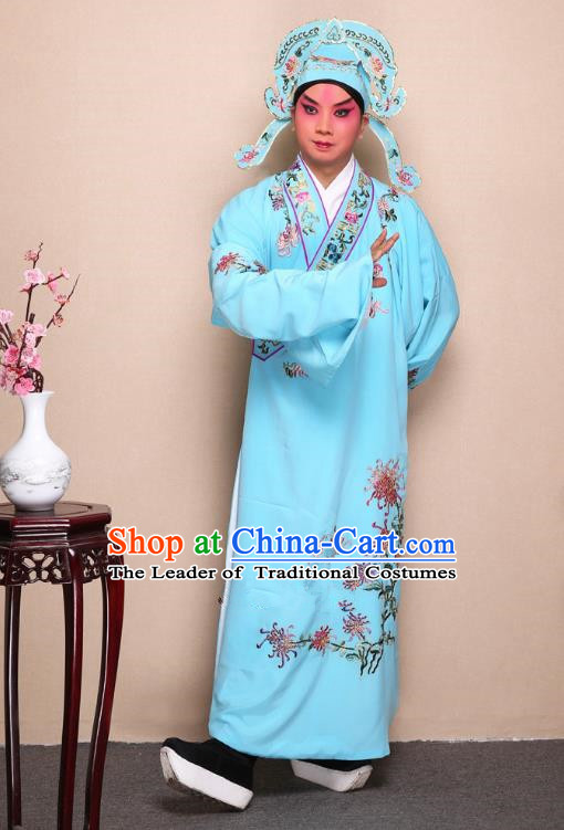 Top Grade Professional Beijing Opera Niche Costume Gifted Scholar Light Blue Embroidered Chrysanthemum Robe, Traditional Ancient Chinese Peking Opera Embroidery Clothing
