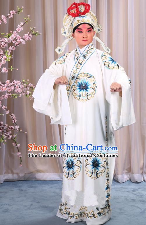 China Beijing Opera Niche Costume General White Embroidered Robe and Headwear, Traditional Ancient Chinese Peking Opera Embroidery Military Officer Gwanbok Clothing