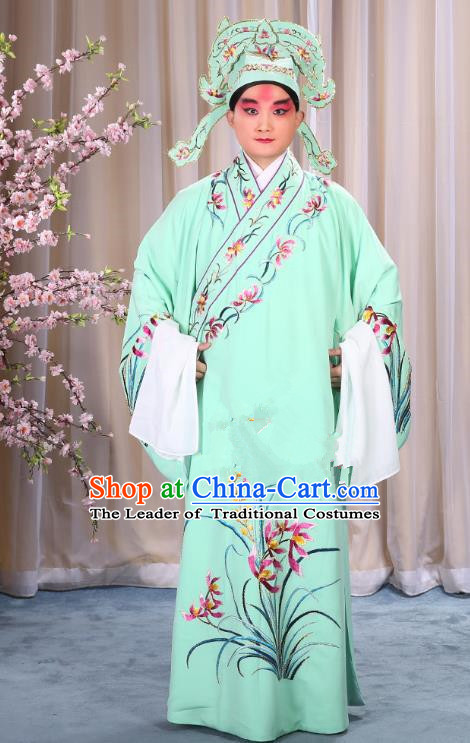China Beijing Opera Niche Costume Young Men Green Embroidered Robe and Shoes, Traditional Ancient Chinese Peking Opera Scholar Embroidery Orchid Gwanbok Clothing