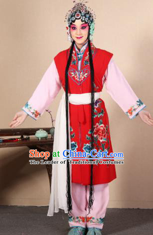 Top Grade Professional Beijing Opera Diva Costume Young Lady Red Embroidered Waistcoat, Traditional Ancient Chinese Peking Opera Princess Embroidery Dress Clothing