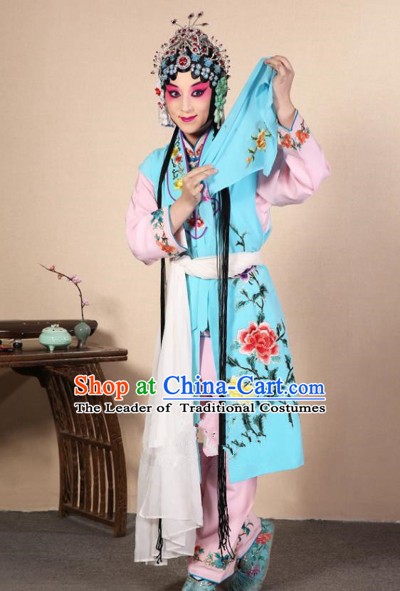 Top Grade Professional Beijing Opera Diva Costume Young Lady Blue Embroidered Waistcoat, Traditional Ancient Chinese Peking Opera Princess Embroidery Dress Clothing