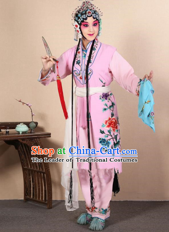 Top Grade Professional Beijing Opera Diva Costume Young Lady Pink Embroidered Waistcoat, Traditional Ancient Chinese Peking Opera Princess Embroidery Dress Clothing