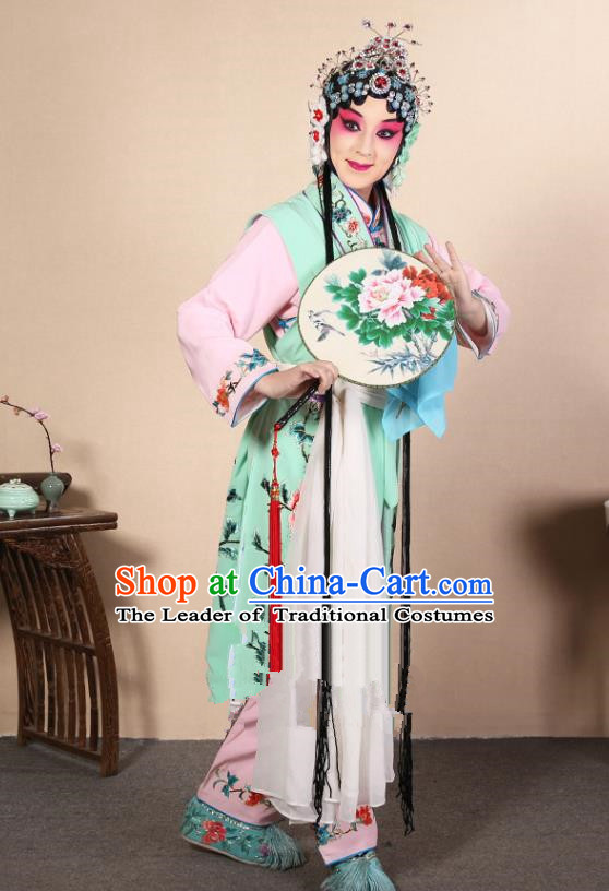 Top Grade Professional Beijing Opera Diva Costume Young Lady Green Embroidered Waistcoat, Traditional Ancient Chinese Peking Opera Princess Embroidery Dress Clothing