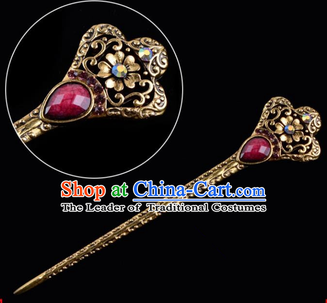 Traditional China Beijing Opera Hua Tan Pantaloon Hair Accessories Purple Hairpin, Ancient Chinese Peking Opera Women Hairpins Diva Kanzashi Headwear