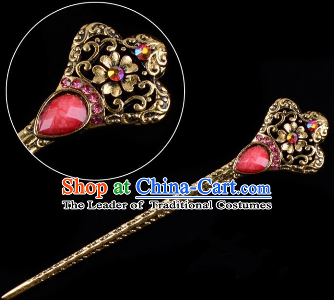 Traditional China Beijing Opera Hua Tan Pantaloon Hair Accessories Red Hairpin, Ancient Chinese Peking Opera Women Hairpins Diva Kanzashi Headwear