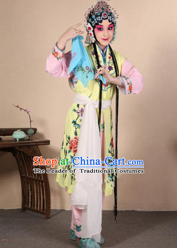 Top Grade Professional Beijing Opera Diva Costume Young Lady Yellow Embroidered Waistcoat, Traditional Ancient Chinese Peking Opera Princess Embroidery Dress Clothing