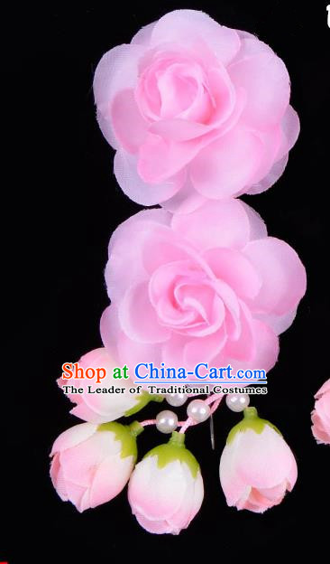 Traditional China Beijing Opera Hua Tan Pink Flowers Hair Accessories Hairpin, Ancient Chinese Peking Opera Women Hairpins Diva Temple Kanzashi Headwear