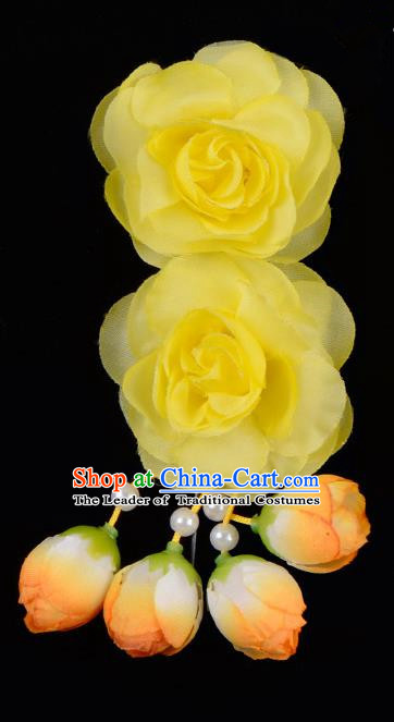 Traditional China Beijing Opera Hua Tan Yellow Flowers Hair Accessories Hairpin, Ancient Chinese Peking Opera Women Hairpins Diva Temple Kanzashi Headwear