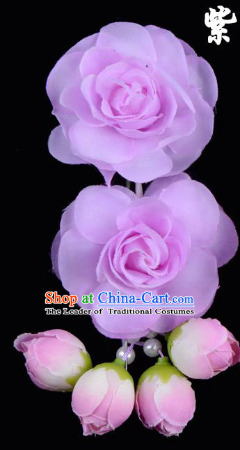 Traditional China Beijing Opera Hua Tan Purple Flowers Hair Accessories Hairpin, Ancient Chinese Peking Opera Women Hairpins Diva Temple Kanzashi Headwear