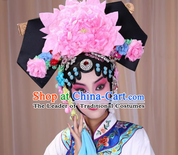 Traditional China Beijing Opera Hua Tan Hair Accessories Manchu Princess Hairpin, Ancient Chinese Peking Opera Women Hairpins Qing Dynasty Diva Temple Kanzashi Headwear