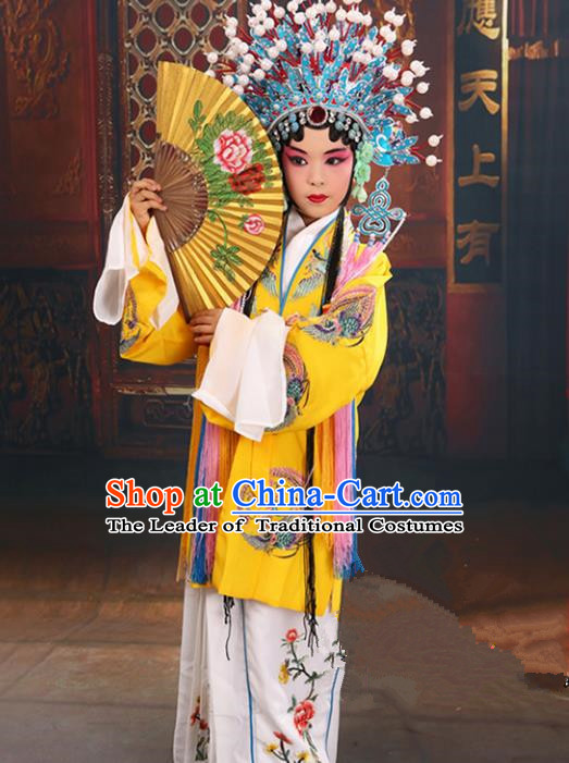 Top Grade Professional China Beijing Opera Costume Embroidered Yellow Cape and Phoenix Coronet, Ancient Chinese Peking Opera Diva Hua Tan Embroidery Clothing for Kids