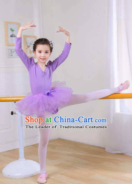 Top Grade Chinese Professional Performance Catwalks Costume, Children Ballet Dance Dress Modern Swan Dance Purple Dress for Girls Kids