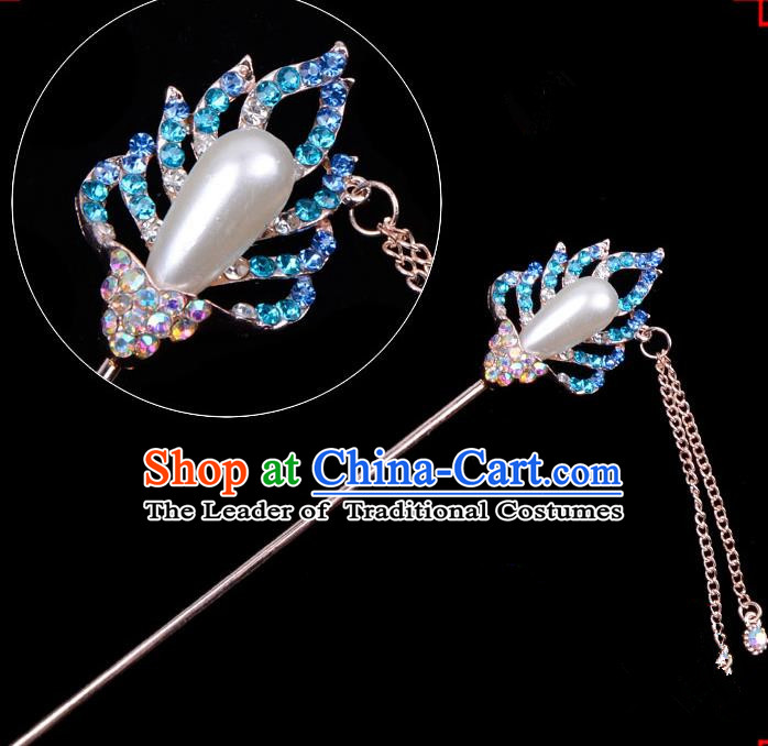 Traditional China Beijing Opera Hua Tan Hair Accessories Blue Crystal Pearls Hairpin, Ancient Chinese Peking Opera Women Hairpins Diva Temple Kanzashi Headwear