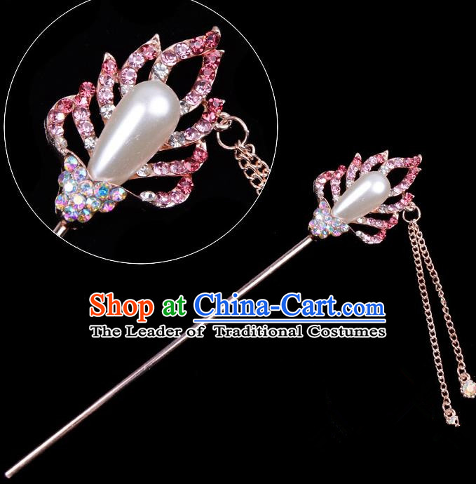Traditional China Beijing Opera Hua Tan Hair Accessories Pink Crystal Pearls Hairpin, Ancient Chinese Peking Opera Tassel Step Shake Women Hairpins Diva Temple Kanzashi Headwear