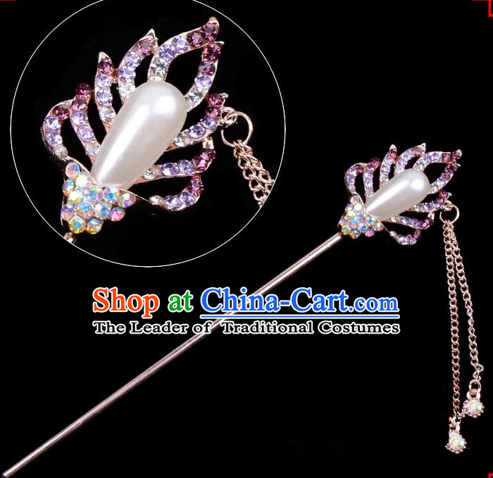 Traditional China Beijing Opera Hua Tan Hair Accessories Purple Crystal Pearls Hairpin, Ancient Chinese Peking Opera Tassel Step Shake Women Hairpins Diva Temple Kanzashi Headwear