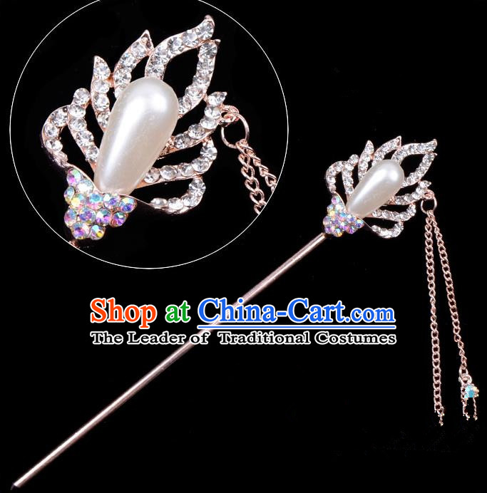 Traditional China Beijing Opera Hua Tan Hair Accessories Crystal Pearls Hairpin, Ancient Chinese Peking Opera Tassel Step Shake Women Hairpins Diva Temple Kanzashi Headwear