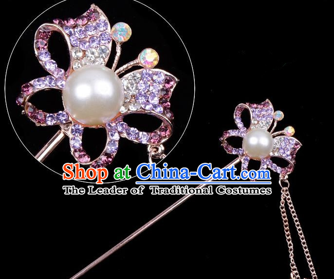 Traditional China Beijing Opera Hua Tan Hair Accessories Purple Crystal Butterfly Hairpin, Ancient Chinese Peking Opera Tassel Step Shake Women Hairpins Diva Temple Kanzashi Headwear
