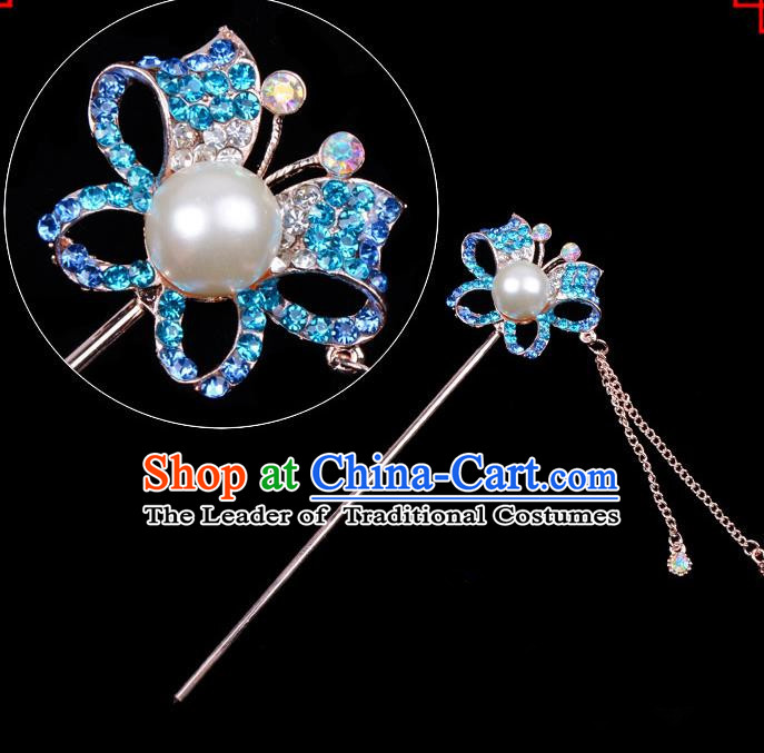 Traditional China Beijing Opera Hua Tan Hair Accessories Blue Crystal Butterfly Hairpin, Ancient Chinese Peking Opera Tassel Step Shake Women Hairpins Diva Temple Kanzashi Headwear