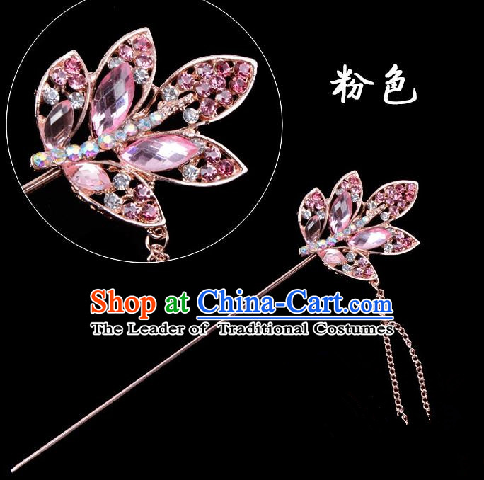 Traditional China Beijing Opera Hua Tan Hair Accessories Pink Crystal Leaf Hairpin, Ancient Chinese Peking Opera Tassel Step Shake Women Hairpins Diva Temple Kanzashi Headwear